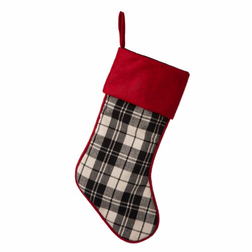 Glitzhome Plaid Fabric with Red Cuff Christmas Stocking Perspective: front