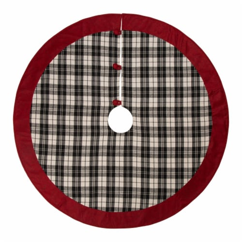 Glitzhome Plaid Fabric Christmas Tree Skirt with Trim - Black/White Perspective: front