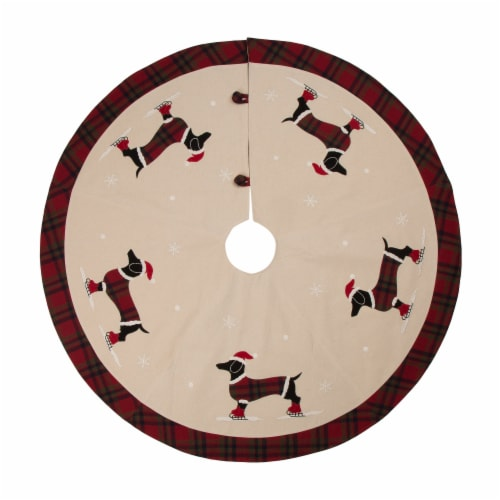 Glitzhome Dachshund Fabric Christmas Tree Skirt - Light Brown Perspective: front