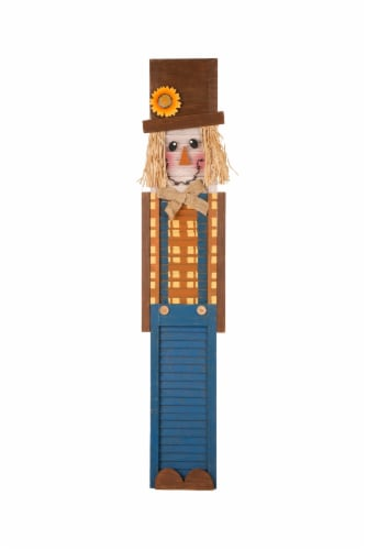 Glitzhome Wooden Scarecrow Hanging Decoration Perspective: front