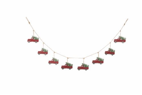 Glitzhome Metal Truck Garland Christmas Decor - Red Perspective: front