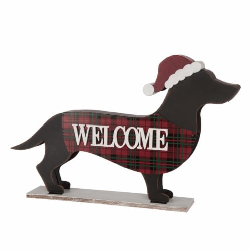 Glitzhome Wooden/Metal Dachshund Porch Sign - Black/Red Perspective: front