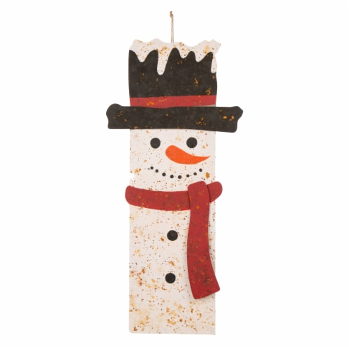 Glitzhome Rusty Metal Christmas Snowman Porch Sign Decor Perspective: front