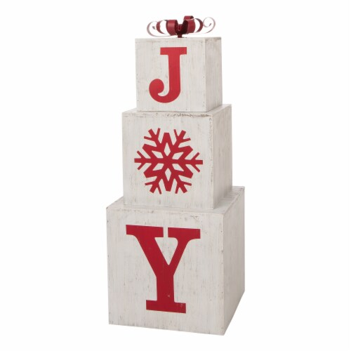 Glitzhome Wooden Block Joy Porch Sign Perspective: front