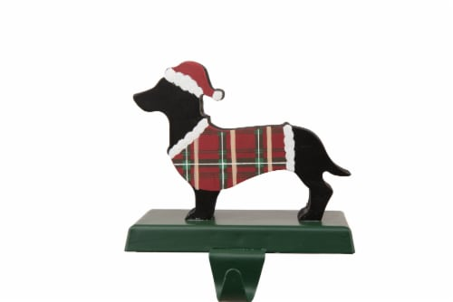 Glitzhome Dachshund Christmas Stocking Holder Perspective: front