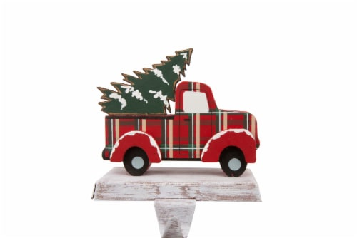 Glitzhome Truck Christmas Stocking Holder - Red/Green Perspective: front