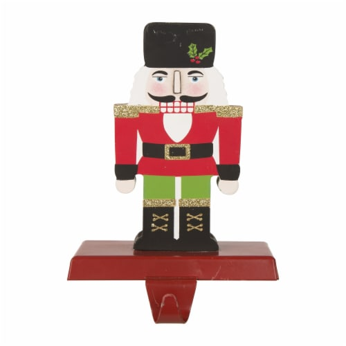 Glitzhome Nutcracker Christmas Stocking Holder - Red Perspective: front