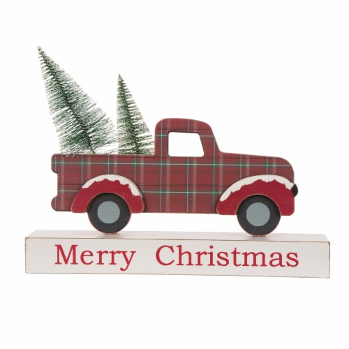 Glitzhome Wooden/Metal Merry Christmas Truck Table Decor - Red Perspective: front
