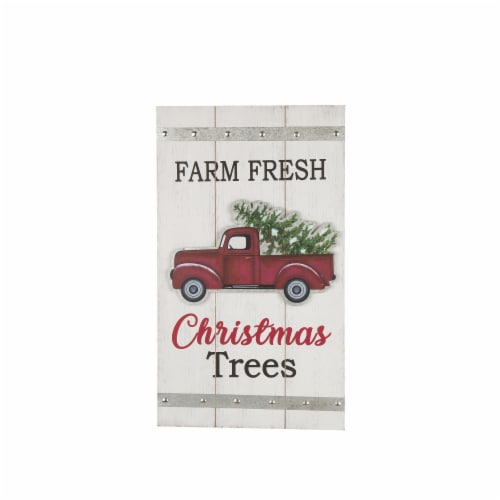 Glitzhome Wooden Red Truck Wall Sign Perspective: front