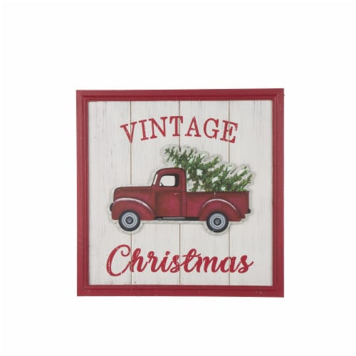 Glitzhome Wooden Red Truck Christmas Wall Decoration Perspective: front