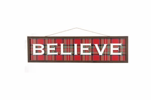 Glitzhome Believe Plaid Wooden Wall Sign Perspective: front