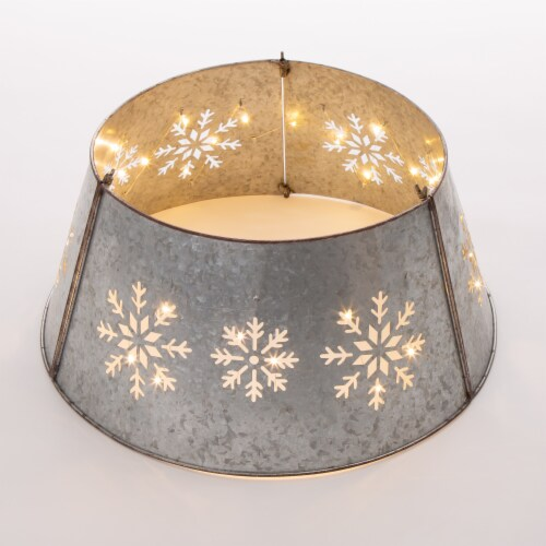 Glitzhome Snowflake Diecut Metal Tree Collar with Lights Perspective: front