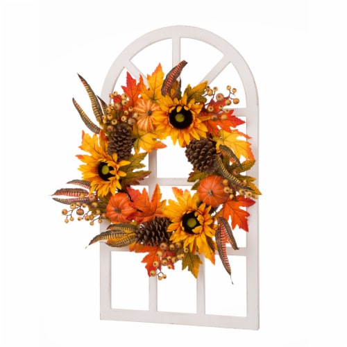 Glitzhome Wooden Window Frame with Sunflower Wreath Perspective: front