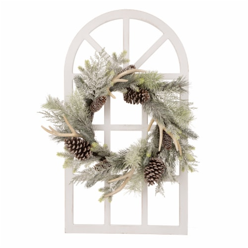 Glitzhome Wooden Window Frame & Flocked Pinecone & Antler Wreath Perspective: front