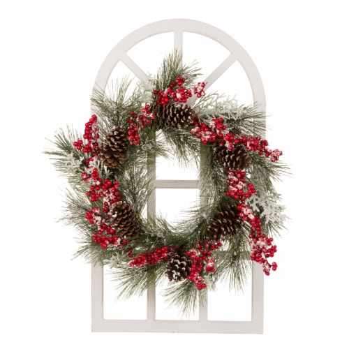 Glitzhome Flocked Pinecone & Berry Wreath Wooden Window Frame Perspective: front