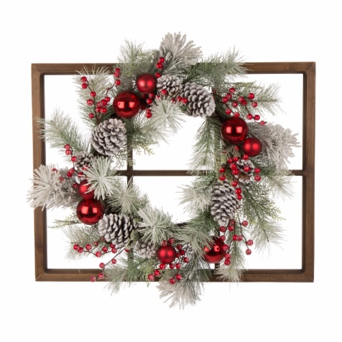 Glitzhome Wooden Window Frame & Flocked Pinecone & Ornament Wreath Perspective: front