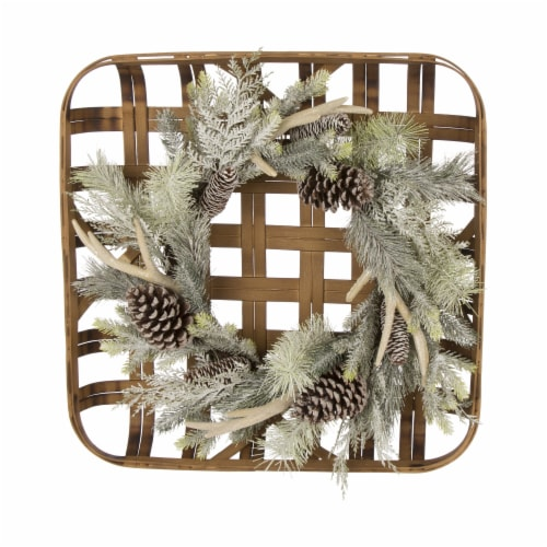 Glitzhome Bamboo Tobacco Basket with Flocked Pinecone & Antler Wreath - Green Perspective: front