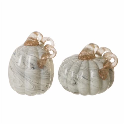 Glitzhome Marble Glass Pumpkins Set - Gray Perspective: front