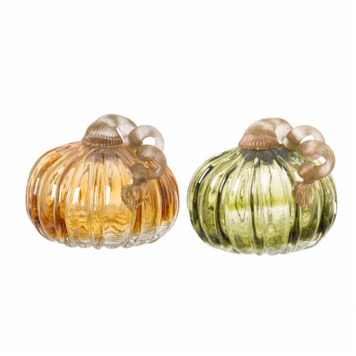 Glitzhome Crackle Glass Short Pumpkin - 2 Pack - Green/Amber Perspective: front