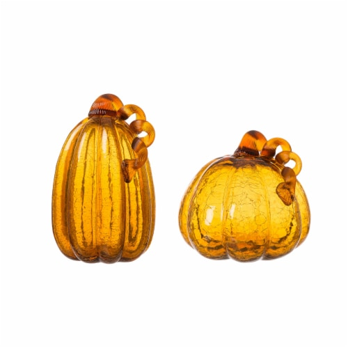 Glitzhome Crackle Glass Pumpkin - 2 Pack - Amber Perspective: front