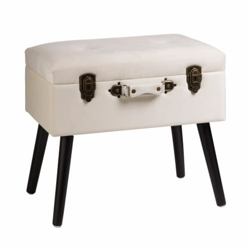 Glitzhome Velvet Upholstered Storage Stool with Legs - Seashell White Perspective: front