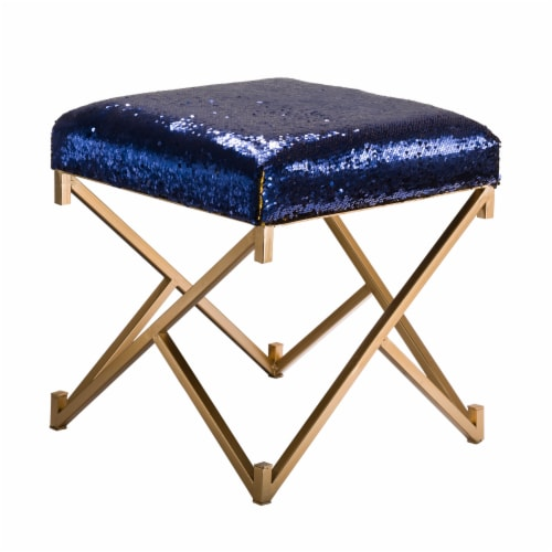 Glitzhome Shimmering Sequin Stool - Sapphire Blue / Metal Gold Perspective: front