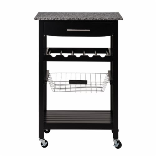 Glitzhome Rolling Kitchen Island with Marble Top - Black Perspective: front