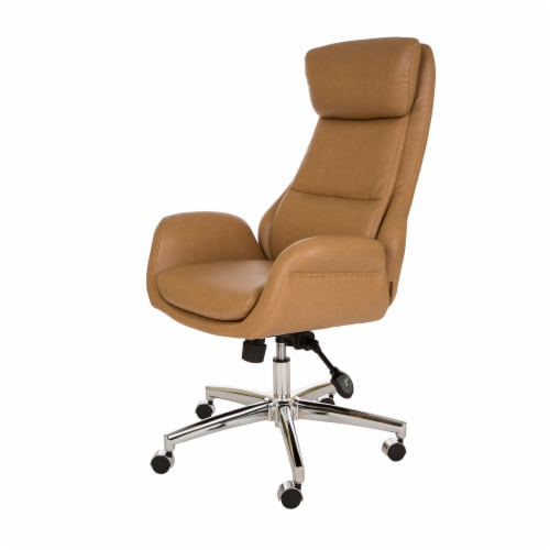 Glitzhome Mid-Century Modern Leatherette Gaslift Adjustable Swivel Office Chair - Camel Perspective: front