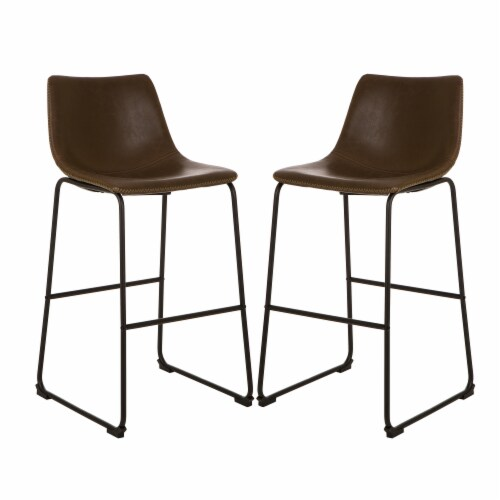 Glitzhome Mid-Century Modern Vintage Leatherette Bar Stools - Brown Perspective: front