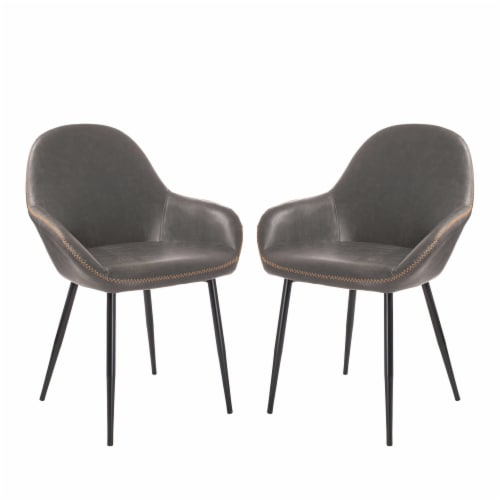 Glitzhome Mid-Century Modern Vintage Leatherette Dining Armchairs - Dark Gray Perspective: front
