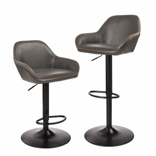 Glitzhome Mid-Century Leatherette Gaslift Adjustable Swivel Bar Stools - Modern Gray Perspective: front