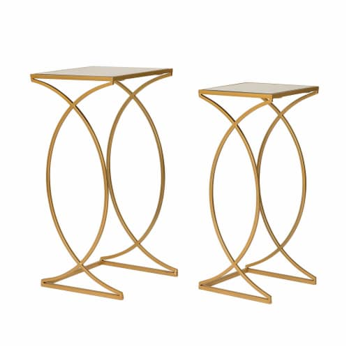 Glitzhome Square Metal with Glass Accent Table - 2 pk - Gold Perspective: front
