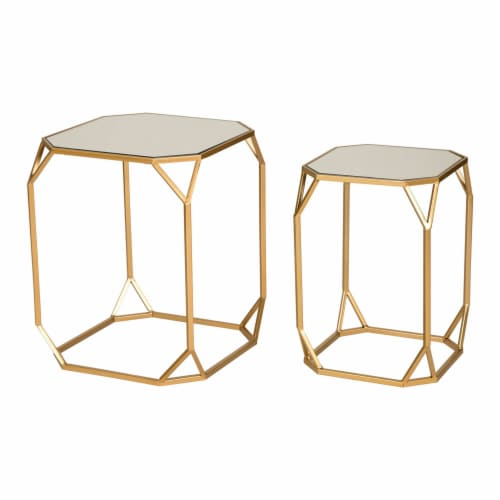 Glitzhome Metal with Glass Square Accent Table - Gold Perspective: front