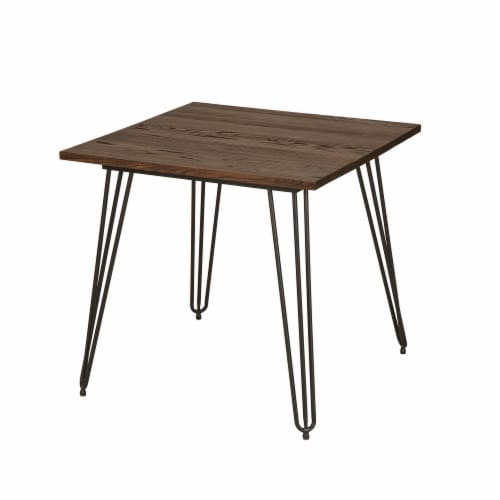 Glitzhome Industrial Steel and Elm Wood Dining Table Perspective: front