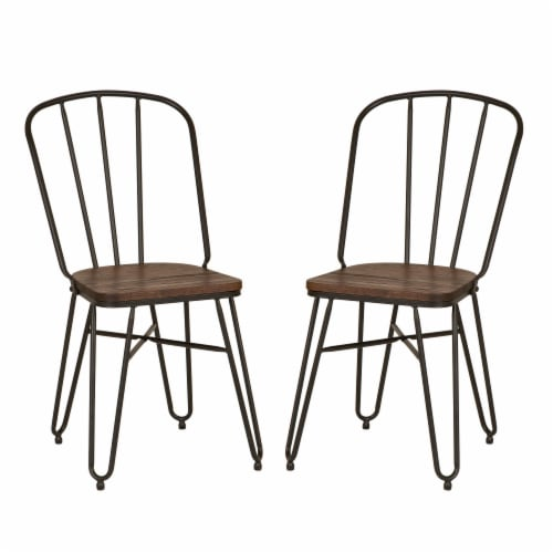 Glitzhome Industrial Steel Dining Chairs with Elm Wood Seat Perspective: front