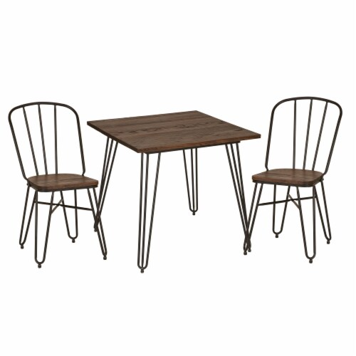 Glitzhome Industrial Steel & Elm Wood Dining Set Perspective: front