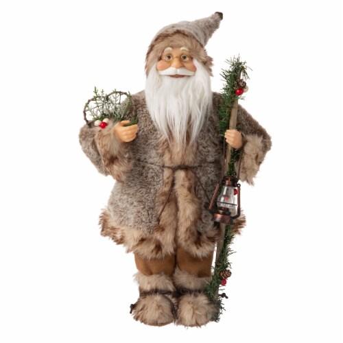 Glitzhome Linen 3D Standing Santa Figurine Christmas Decor Perspective: front