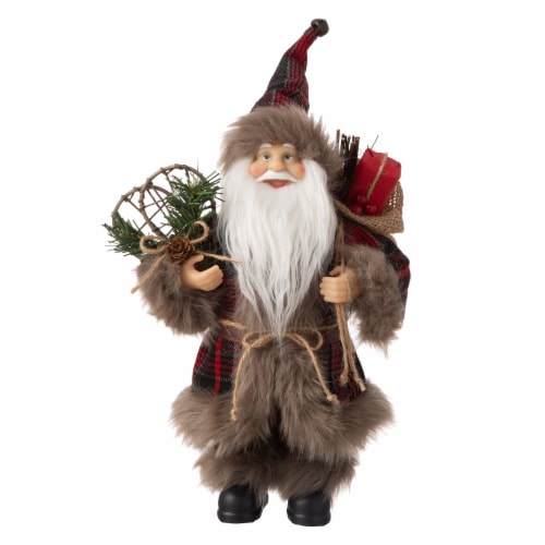 Glitzhome Faux Fur Plaid Santa Figurine Christmas Decor Perspective: front