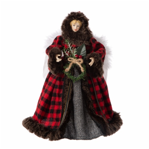 Glitzhome Plaid Angel Figurine Tree Topper Christmas Decor Perspective: front