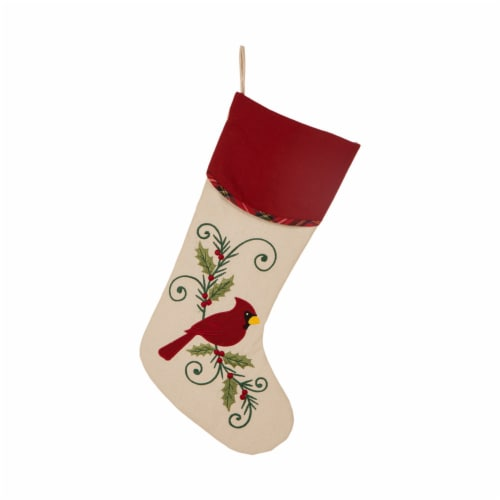 Glitzhome Cardinal Christmas Stocking Perspective: front