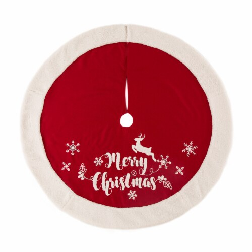Glitzhome Fabric Merry Christmas Tree Skirt - Red/White Perspective: front