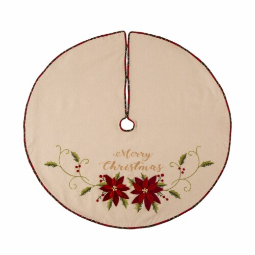 Glitzhome Poinsettia Fabric Christmas Tree Skirt Perspective: front