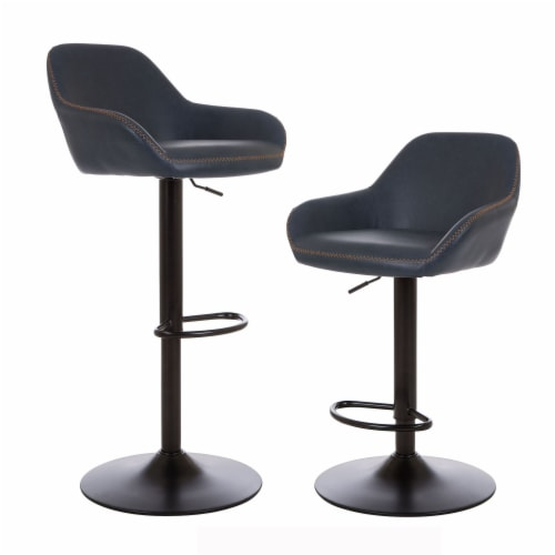 Glitzhome Mid-Century Modern Leatherette Gaslift Adjustable Swivel Bar Stools - Navy Blue Perspective: front