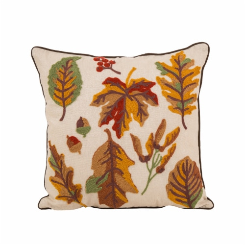 Glitzhome Fall Embroidered Leaves Pillow Cover Perspective: front