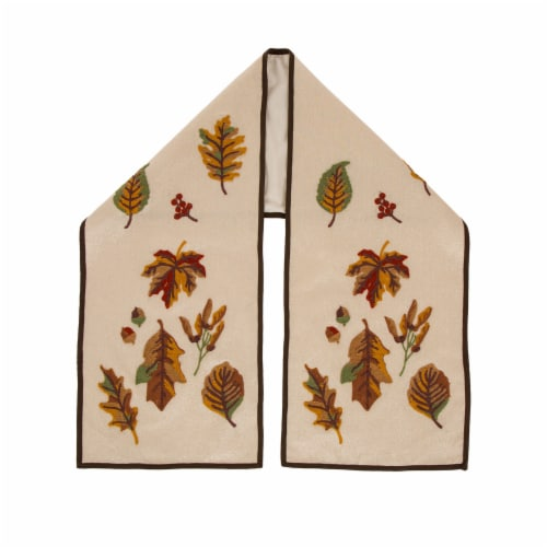 Glitzhome Fall Embroidered Leaves Table Runner Perspective: front