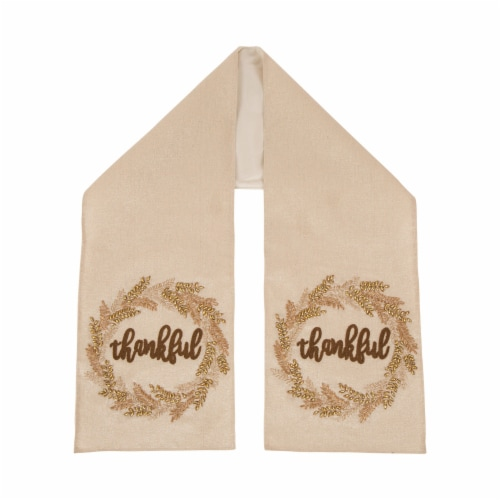 Glitzhome Embroidered Thankful Thanksgiving Table Runner Perspective: front
