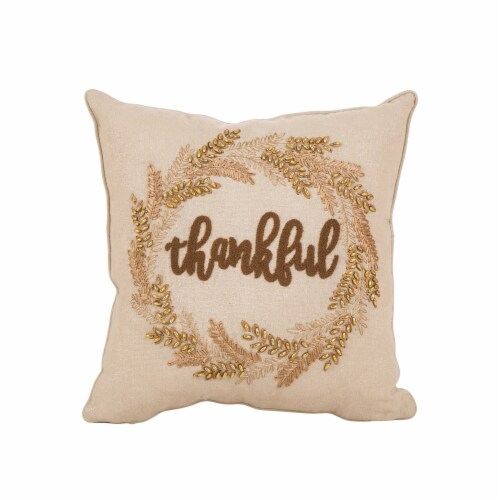Glitzhome Embroidered Thankful Pillow Perspective: front