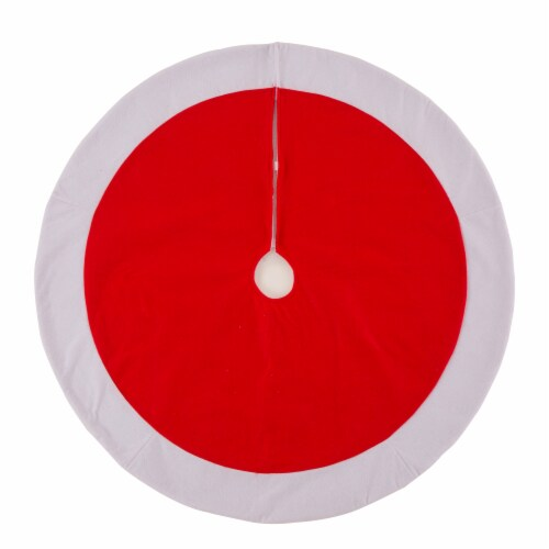 Glitzhome Polyester Felt Christmas Tree Skirt - Red / White Perspective: front
