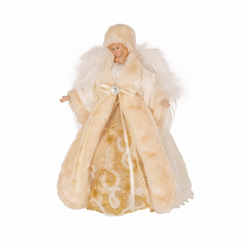 Glitzhome Faux Fur 3D Standing Angel Figurine Tree Topper - Beige Perspective: front