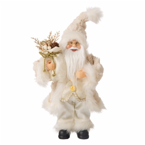 Glitzhome Standing Santa Figurine Christmas Decoration - Linen Perspective: front